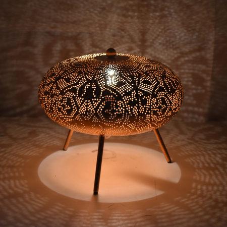 Oosterse tafellamp | Marokkaanse lampen | Kalini | Vintage koper | Gaatjeslamp | Oosterse sfeerverlichting
