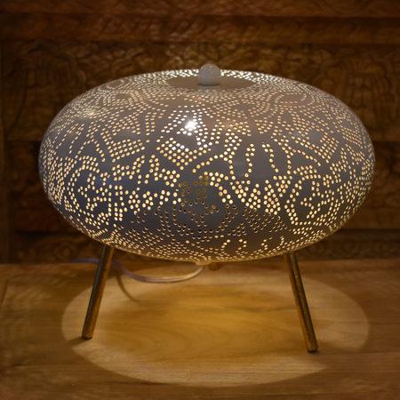 Oosterse tafellamp | Arabisch filigrain | Wit goud | Oosterse lampen | Marokkaanse verlichting