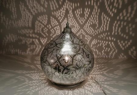 Oosterse tafellamp   Arabisch filigrain   Marokkaanse tafellamp   Vintage zilver   Oosterse lampen