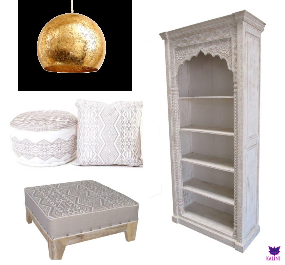 Marokkaanse kasten | Oosterse kussens | Modern Arabisch interieur | Whitewash | houtsnijwerk | Oosterse kussens en poefen | Kalini de specialist voor een exclusief Oosters interieur