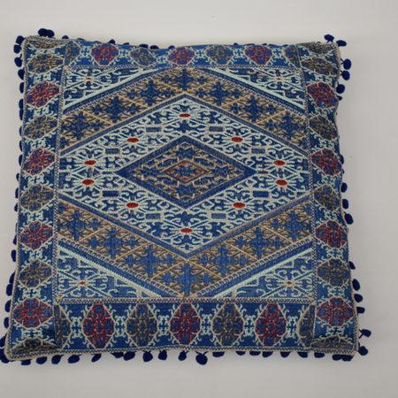 Oosters kussen | Geborduurd | Katoen | Blauw | Marokkaanse kussens | Arabisch interieur Kalini