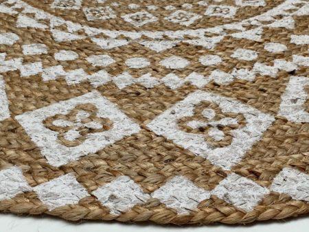 Oosters vloerkleed   Naturel wit   Jute   Geweven   Mandala   India vloerkleed   Marokkaans rond vloerkleed   Kalini