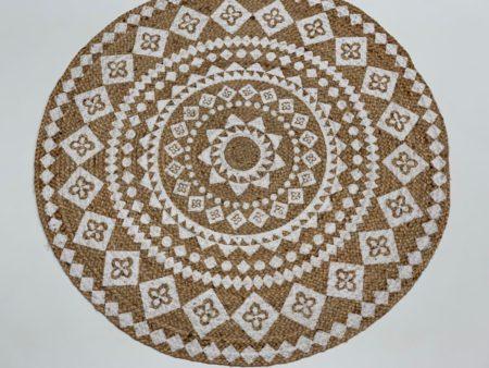 Oosters vloerkleed   Jute   Naturel Wit   Mandala   Arabische vloerkleden