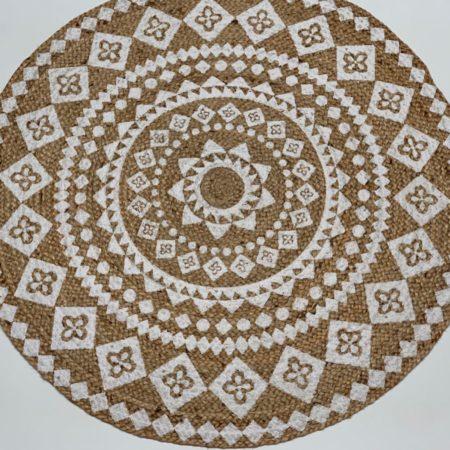 Oosters vloerkleed | Jute | Naturel Wit | Mandala | Arabische vloerkleden