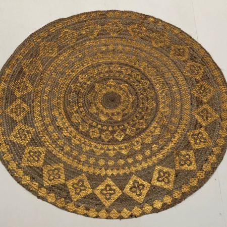 Oosters vloerkleed | Rond | Goud | Gevlochten kleed | Oosterse kleden | Tapijten | Marokkaans interieur | Arabische meubels | Kalini | Handgemaakt | Scherpe prijzen en snelle levering