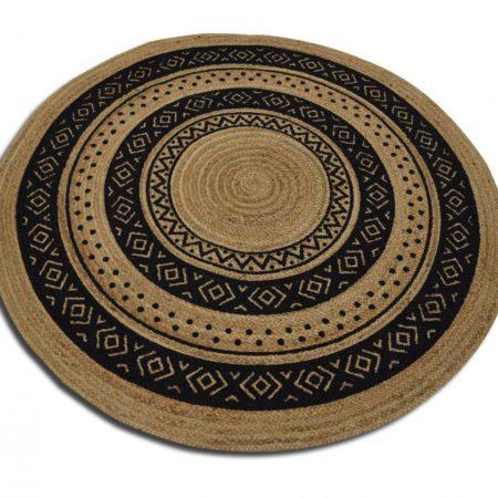 Oosters vloerkleed | Zwart gevlochten | Cirkel design | Arabisch vloerkleed | Marokkaanse meubels | Kalini voor een Oosters interieur | Scherpe prijzen en snelle levering
