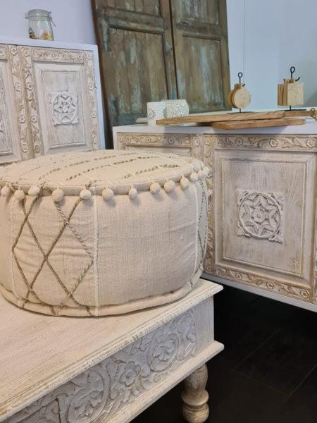 Oosterse poef pure volledig duurzaam katoen | Handgemaakt | Oosterse poefen en kussens bij Kalini | eigen import beste prijzen | Oosters interieur