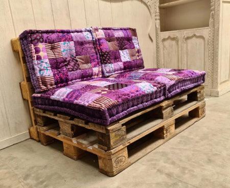 Oosterse palletkussens   Paars   Patchwork kussens   complete set voor op de palletbank   Lounge kussens   Kalini   Scherpe prijzen snelle levering