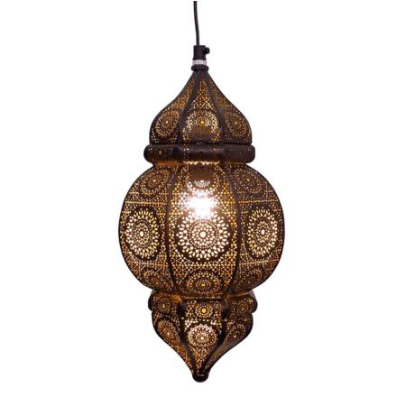 Oosterse hanglamp | Marokkaanse lampen online | Zwart goud | Metaal | Filigrain | Gaatjes lamp | Oosterse lampen met scherpe prijzen en snelle levering nu bij Kalini!